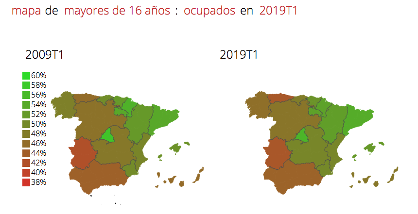 cdac982d040 La Comunidad de Madrid encabeza los niveles de ocupación con un 55,4%,  seguida de Cataluña con un 54,2%. Por el contrario, el Principado de  Asturias y ...